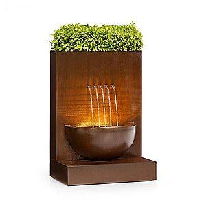 Blumfeldt Windflower, záhradná fontána s kvetináčom, 11 W, pozinkovaný kov, hnedá vyobraziť