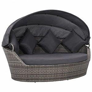 Záhradná ratanová posteľ s baldachýnom Sivá vyobraziť