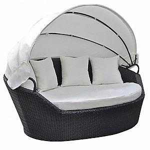 Záhradná ratanová posteľ s baldachýnom Čierna vyobraziť