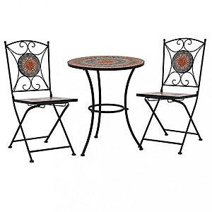 Mozaikové bistro stoličky 2 ks keramika Dekorhome Sivá vyobraziť