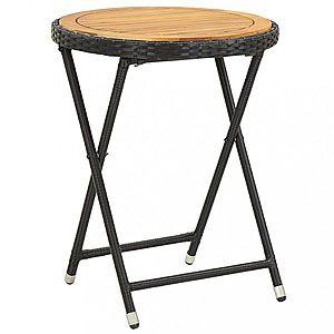 Záhradný čajový stolík polyratan Dekorhome Hnedá / čierna vyobraziť