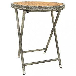 Záhradný čajový stolík polyratan Dekorhome Hnedá / sivá vyobraziť