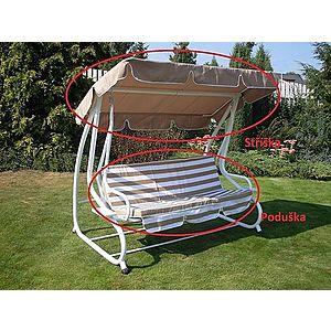 Strieška + podušky k hojdačke De Luxe béžová ROJAPLAST Béžová / biela vyobraziť
