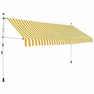 Ručne zaťahovací markíza 350 cm Dekorhome Biela / žltá vyobraziť