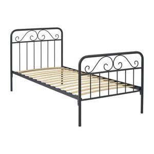Kovová posteľ LEON 90x200 sivá vyobraziť