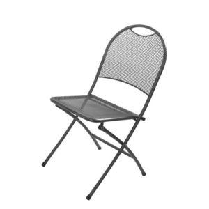 Záhradná kovová skladacia stolička - čierna vyobraziť