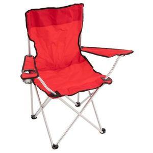 Skladacia kempingová stolička s držiakom nápojov, červená vyobraziť