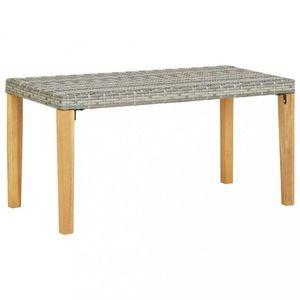 Záhradná lavica 120 cm polyratan / akácie Dekorhome Sivá vyobraziť