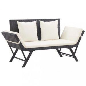 Záhradná lavica 176 cm polyratan Dekorhome Čierna / biela vyobraziť