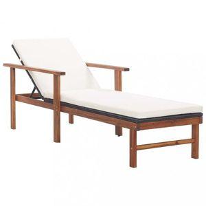 Záhradné ratanové ležadlo s poduškou Hnedá vyobraziť