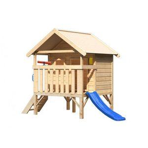 Detský domček so šmýkačkou Dekorhome Modrá vyobraziť