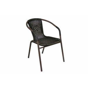 Záhradná ratanová stolička Bistro - čierna s hnedou štruktúrou vyobraziť