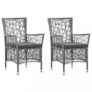 Záhradné stoličky 2 ks polyratan Dekorhome Sivá vyobraziť