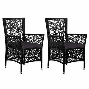 Záhradné stoličky 2 ks polyratan Dekorhome Čierna vyobraziť