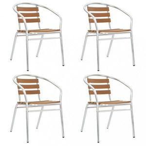 Stohovateľné záhradné stoličky 4 ks strieborná / hnedá Dekorhome vyobraziť