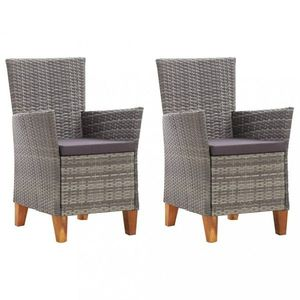 Záhradná stolička s poduškami 2 ks polyratan Sivá vyobraziť