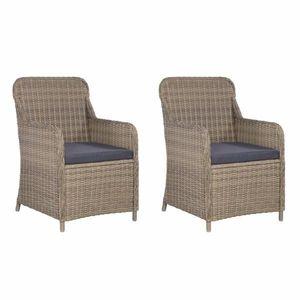 Záhradná stolička s poduškami 2 ks polyratan Dekorhome Hnedá vyobraziť