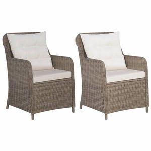 Záhradná stolička 2 ks s poduškami hnedá / krémová Dekorhome vyobraziť