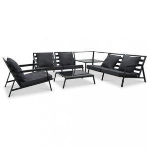 Záhradná sedacia súprava 5ks čierna / tmavosivá Dekorhome vyobraziť