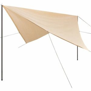 Plachta proti slnku s tyčami štvorcová 4x4 m Krémová vyobraziť