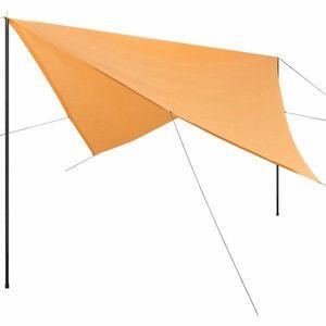 Plachta proti slnku s tyčami štvorcová 4x4 m Béžová vyobraziť