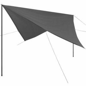 Plachta proti slnku s tyčami štvorcová 4x4 m Antracit vyobraziť