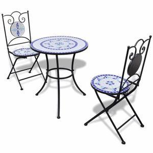 Mozaikové bistro stoličky 2 ks keramika Dekorhome Tehlová vyobraziť