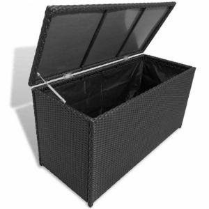 Záhradný úložný box polyratan Dekorhome Čierna vyobraziť