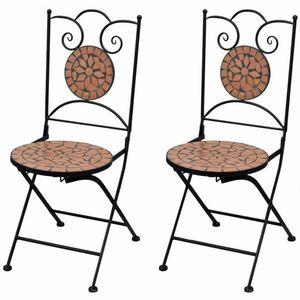 Záhradná skladacia stolička 2 ks Tehlová vyobraziť