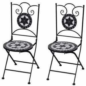 Záhradná skladacia stolička 2 ks Čierna vyobraziť