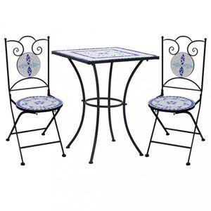 Mozaikový bistro set 3 ks Dekorhome Biela / modrá vyobraziť