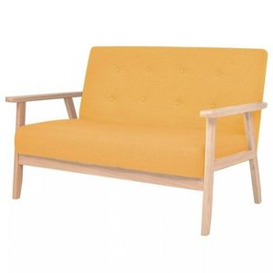 Dvojmiestna sedačka textil / drevo Dekorhome Žltá vyobraziť