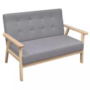 Dvojmiestna sedačka textil / drevo Dekorhome Svetlosivá vyobraziť