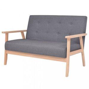Dvojmiestna sedačka textil / drevo Dekorhome Tmavosivá vyobraziť