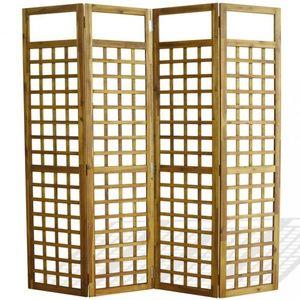 Paravan akáciové drevo / treláž Dekorhome 160x170 cm (4-dielny) vyobraziť