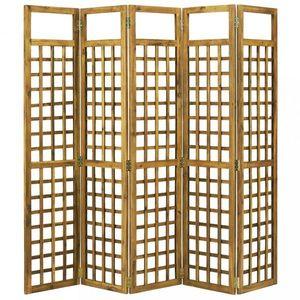 Paravan akáciové drevo / treláž Dekorhome 200x170 cm (5-dielny) vyobraziť