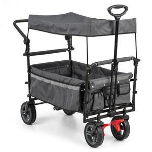 Waldbeck Easy Rider, ťahací vozík so strieškou, do 70 kg, teleskopická tyč, sklopný, sivý vyobraziť