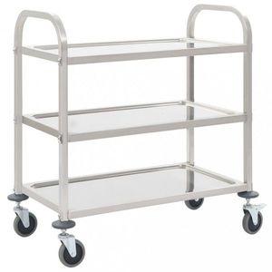 Kuchynský vozík nerezová oceľ Dekorhome 87x45x83, 5 cm (3 police) vyobraziť