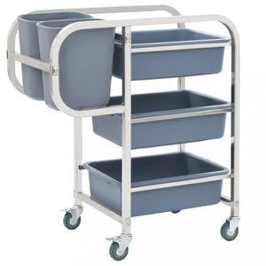 Kuchynský vozík s boxami nerezová oceľ / plast Dekorhome vyobraziť