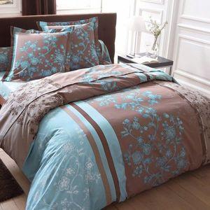 Posteľná súprava Monika, bavlna hnedosivá/modrá obliečka na prikr. 240x220cm vyobraziť