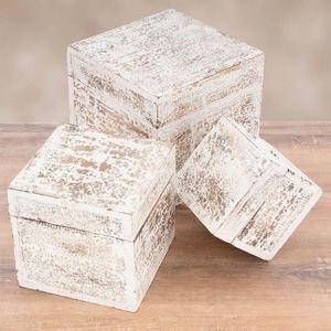 Sada drevených vintage boxov, biele vyobraziť