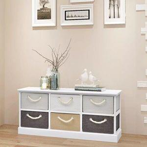 Úložná lavica so zásuvkami biela Dekorhome vyobraziť
