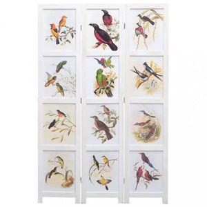 Paravan 3-dielny biela / vzor vtáky Dekorhome 105x165 cm (3-dielny) vyobraziť