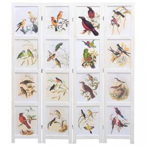 Paravan 3-dielny biela / vzor vtáky Dekorhome 140x165 cm (4-dielny) vyobraziť