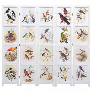 Paravan 3-dielny biela / vzor vtáky Dekorhome 175x165 cm (5-dielny) vyobraziť