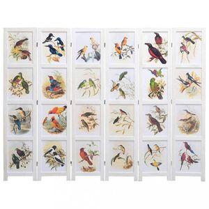 Paravan 3-dielny biela / vzor vtáky Dekorhome 210x165 cm (6-dielny) vyobraziť
