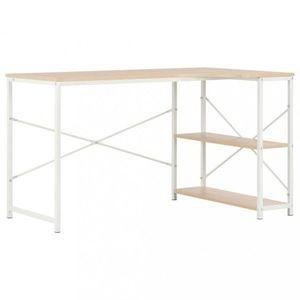 Rohový písací stôl 120x72 cm Dekorhome Biela / dub vyobraziť