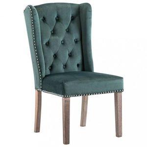 Jedálenská stolička zamat / kaučukovník Dekorhome Tmavo zelená vyobraziť