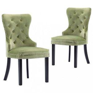 Jedálenská stolička 2 ks zamat / kaučukovník Dekorhome Zelená vyobraziť
