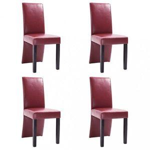 Jedálenská stolička 4 ks umelá koža / drevo Dekorhome Vínová vyobraziť
